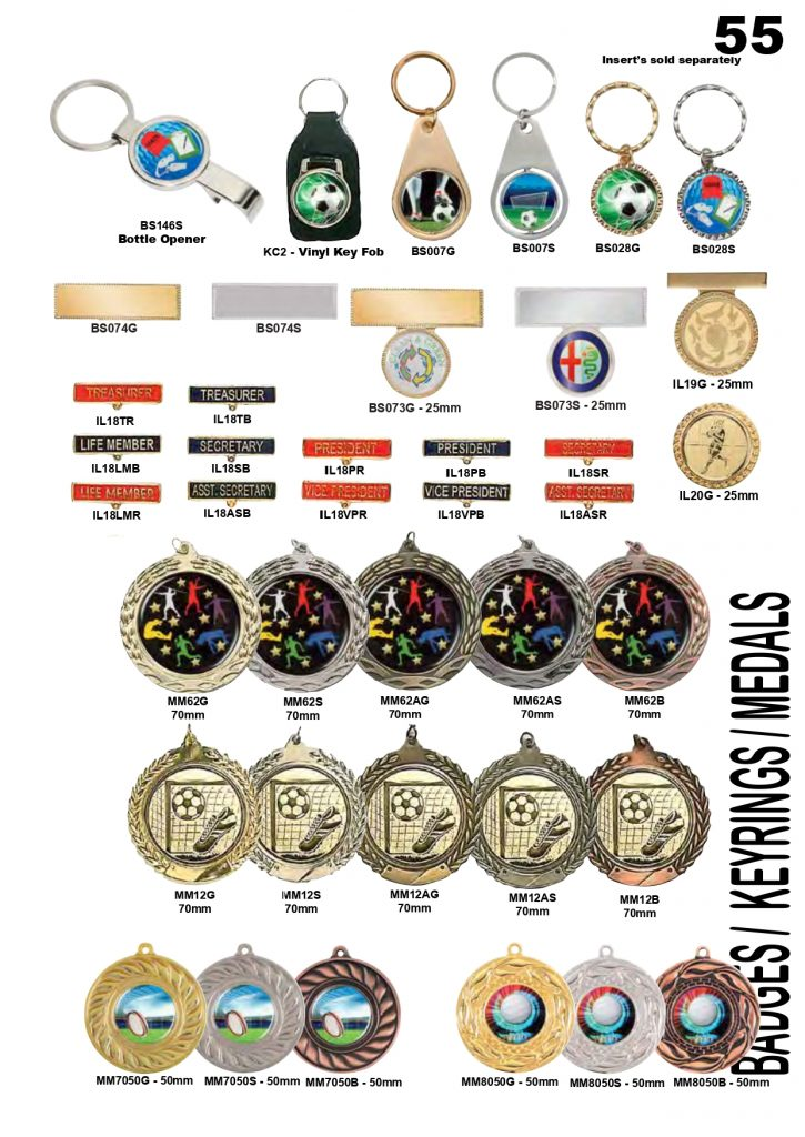 Medals Keyrings and Badges